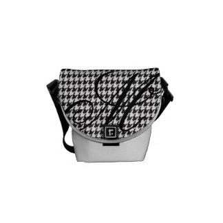 Monogram Houndstooth Pattern in Black | White Messenger Bag