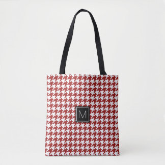 Monogram Houndstooth Pattern Red and White Tote Bag