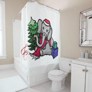 Monogram Huge Xmas Santa Elephant on Snow White Shower Curtain