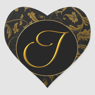 Monogram I Gold and Black Damask Wedding Seal Heart Sticker