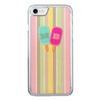 Monogram Ice Lollies and Stripes Carved iPhone 8/7 Case