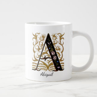 "Monogram Illuminated ""A"" & Name by Kay Nielsen Large Coffee Mug"