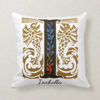 "Monogram Illuminated ""I"" & Name by Kay Nielsen Cushion"
