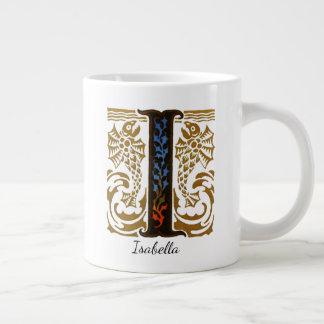 """Monogram Illuminated """"I"""" & Name by Kay Nielsen Large Coffee Mug"""