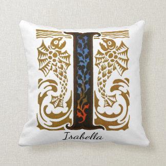 """Monogram Illuminated """"I"""" & Name by Kay Nielsen Throw Pillow"""