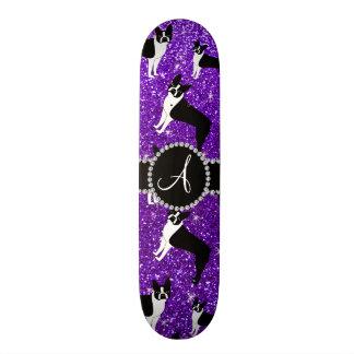 Monogram indigo purple glitter boston terriers 21.6 cm old school skateboard deck