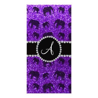 Monogram indigo purple glitter elephants personalised photo card