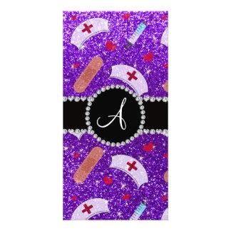 Monogram indigo purple glitter nurse hats heart customised photo card