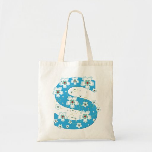 Monogram initiaI S floral flowery pretty tote bag