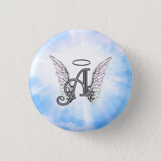 Monogram Initial A, Angel Wings & Halo w/ Clouds 3 Cm Round Badge