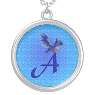 Monogram Initial A Bluebird Necklace