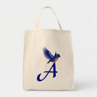 Monogram Initial A Bluebird Tote Bag