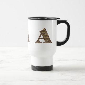 Monogram Initial A Elegant Floral Travel Mug