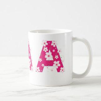 Monogram initial A pretty pink flowers mug