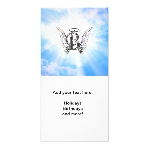 Monogram initial B alphabet letter with angel wing Customized Photo Card