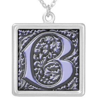 Monogram Initial B Square Pendant Necklace
