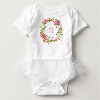 Monogram Initial Baby Tutu Floral Rose Wreath Baby Bodysuit