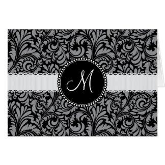 Monogram Initial Black Gray Damask Floral Pattern Card