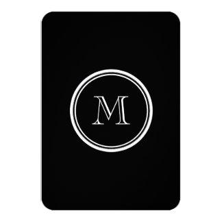 Monogram Initial Black High End Colored 3.5x5 Paper Invitation Card