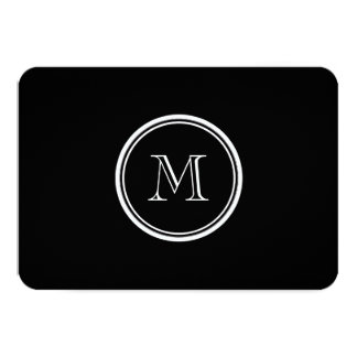 "Monogram Initial Black High End Colored 3.5"" X 5"" Invitation Card"