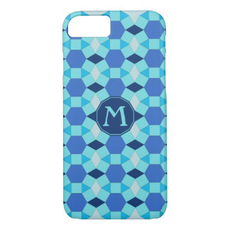 Monogram initial blue tiles tessellation iPhone 7 case