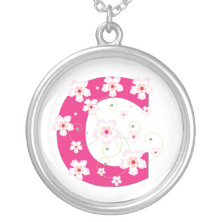 Monogram initial C pretty pink floral necklace