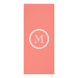 Monogram Initial Coral Pink High End Colored 10 Cm X 24 Cm Invitation Card