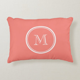 Monogram Initial Coral Pink High End Colored Decorative Cushion