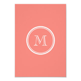 Monogram Initial Coral Pink High End Colored 9 Cm X 13 Cm Invitation Card