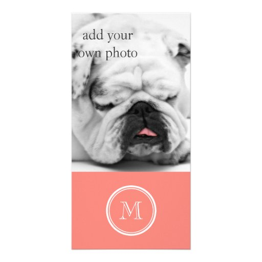 Monogram Initial Coral Pink High End Colored Photo Card
