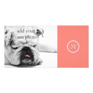 Monogram Initial Coral Pink High End Colored Photo Card Template