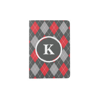 Monogram, Initial Custom Argyle Pattern Red Grey Passport Holder