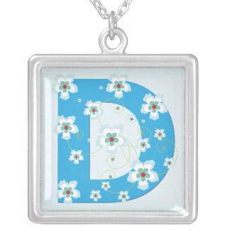 Monogram initial D pretty blue floral necklace