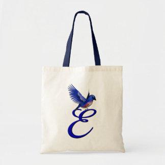 Monogram Initial E Elegant Bluebird Tote Bag