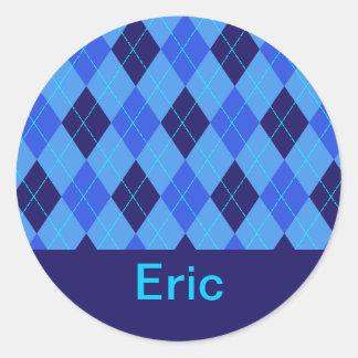 Monogram initial E personalised name stickers