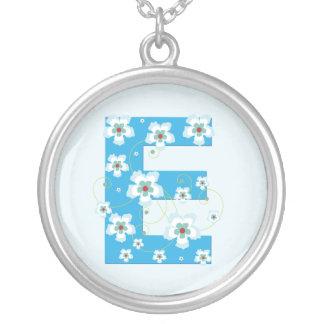 Monogram initial E pretty blue floral necklace