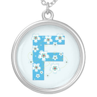 Monogram initial F pretty blue floral necklace