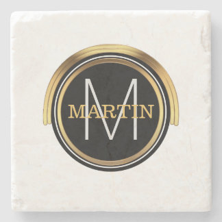 Monogram Initial Family Name | Art Deco Black Gold Stone Coaster