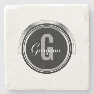 Monogram Initial Family Name | Chic Black Silver Stone Coaster