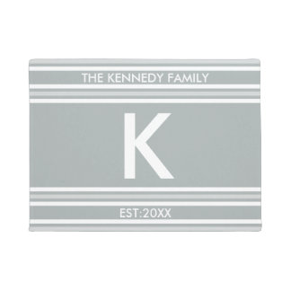 Monogram Initial Family Name Gray White Stripe Doormat