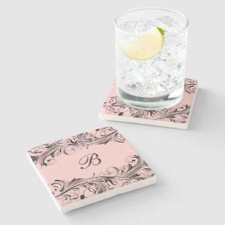 Monogram Initial Floral Flourish Drink Coasters
