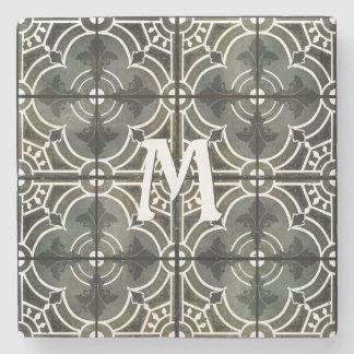 Monogram Initial French Vintage Fleur de Lis Art Stone Coaster