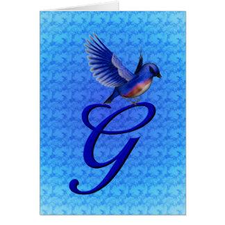 Monogram Initial G Elegant Bluebird Card