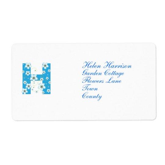 Monogram initial H blue floral address labels
