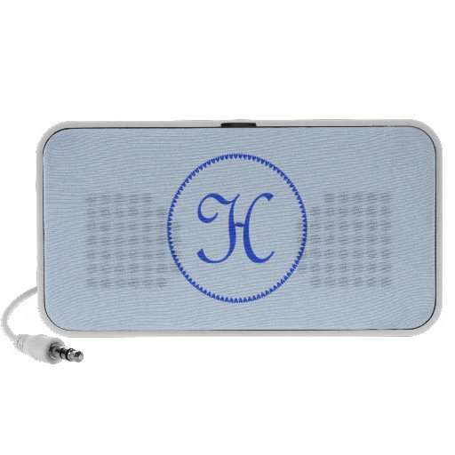 Monogram initial H blue hearts doodle speakers