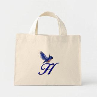 Monogram Initial H Bluebird Tote Bag