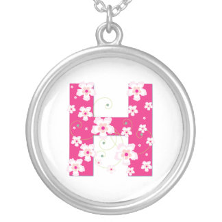 Monogram initial H pretty pink floral necklace