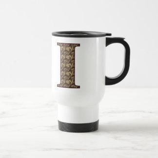 Monogram Initial I Elegant Floral Travel Mug