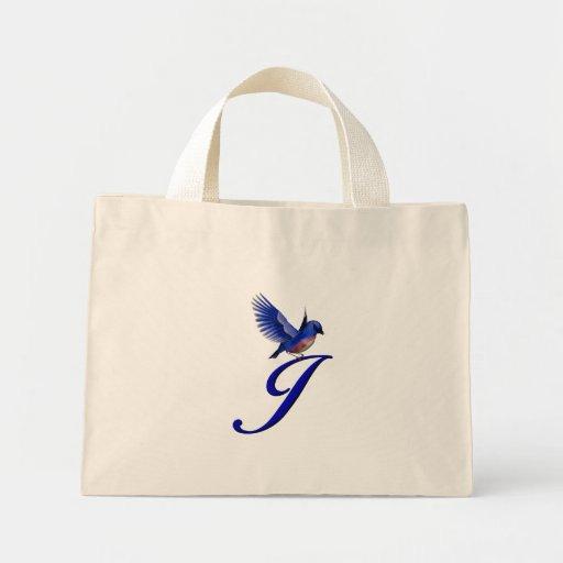 Monogram Initial J Bluebird Tote Bag