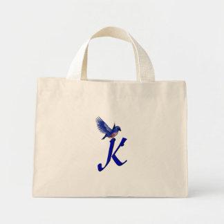Monogram Initial K Bluebird Tote Bag